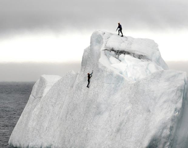 Why do you want to climb an iceberg? Because it's there, of course.: Quidi Vidi, Iceberg Floating, John Newfoundland, Beautiful Canada, Iceberg Climbing, Life Vest, Rocks Climbing, Ice Climbing Canada, Iceberg Climbers