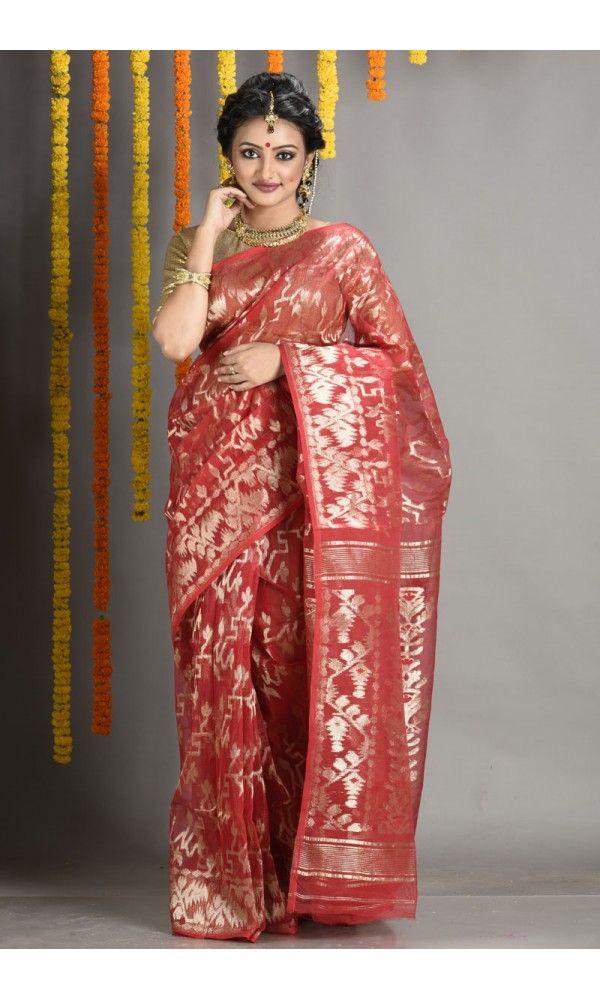 Red Bridal Dhakai Jamdani Saree - Colors Of Bengal - adi5593 | Adimohinimohankanjilal