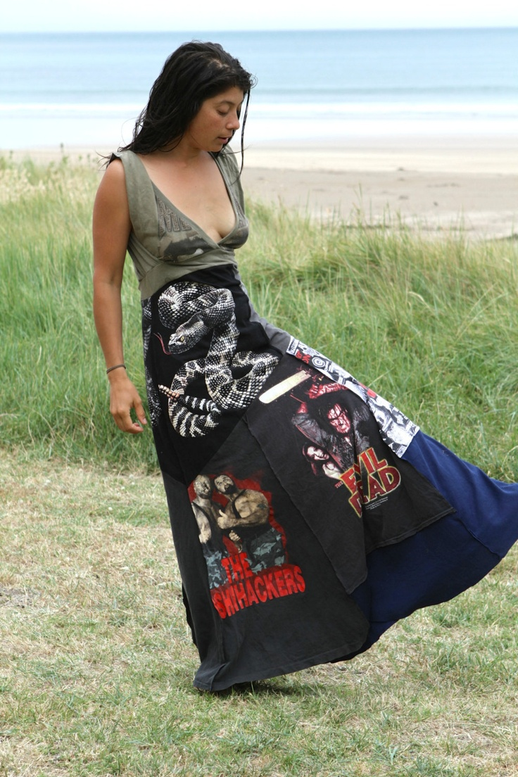 Upcycled heavy metal tee shirt patchwork reversible maxi dress. $110.00, via Etsy.