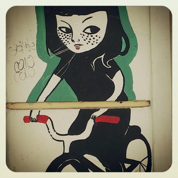 Street Art, Graffiti, Painting, Mural, Wall, Santiago, Bellavista, Chile, girl on a bike