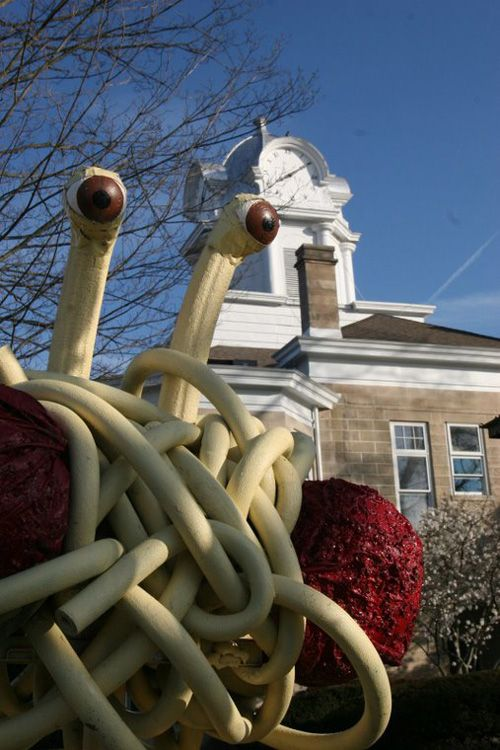 Members of the Crossville, TN Chapter of The Church of the Flying Spaghetti Monster have installed a giant Flying Spaghetti Monster statue outside The Cumberland County Courthouse in Crossville, Tennessee.