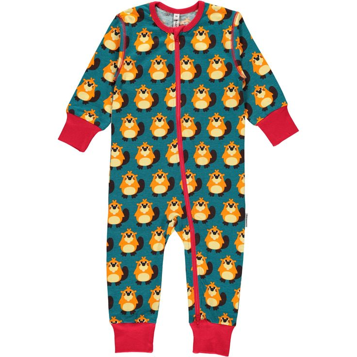 Beaver Zipper Suit from Maxomorra. Made from GOTS Certified Organic Cotton. Available at Modern Rascals.