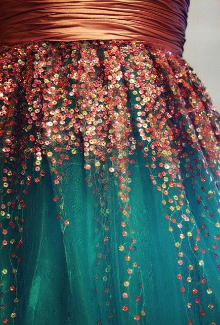 Sparkly Skirt | Bronze, copper, champagne, mauve sequins drizzle from the waist over layers of teal tulle. Topped with a coppery, shirred satin sash. great for a party
