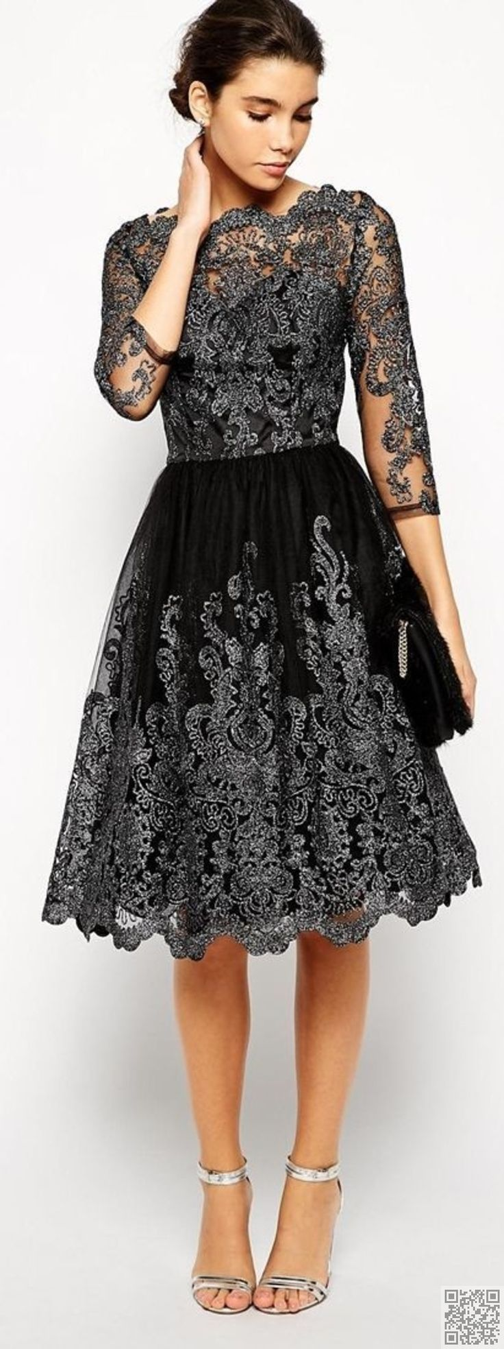 White and black lace dress pinterest