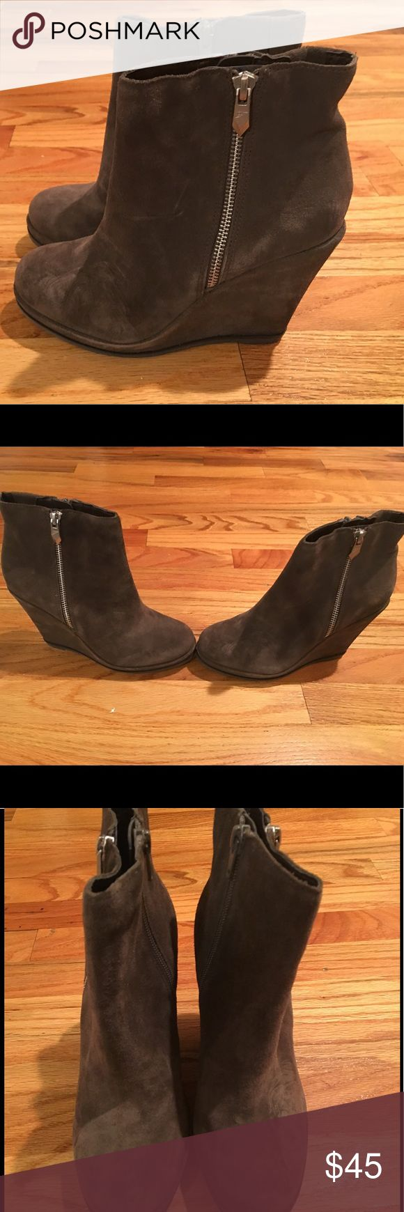 Fergie Booties Size 7M Wedge High Heel Booties Gray wedge high heel side zippered sueded bodies by Fergie; Size 7M- leather upper balance man made materials; New without Box Fergie Shoes Ankle Boots & Booties