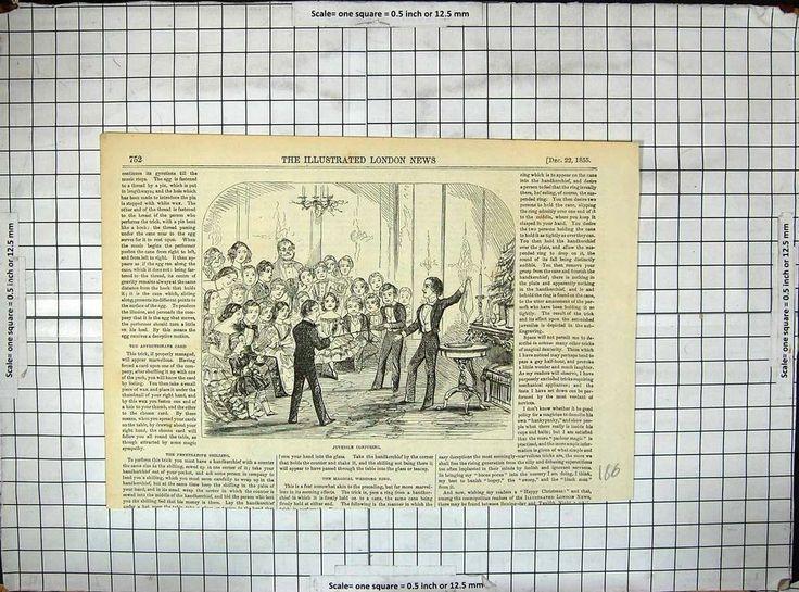Antique Print of 1855 Juvenile Conjuring Children Magic Entertainment
