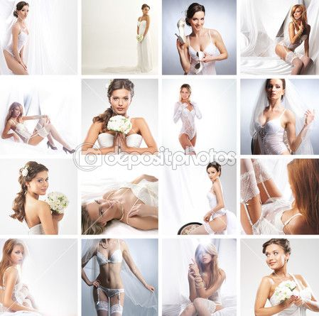 Women in a different bridal lingerie and dresses — Stock Image #25309613