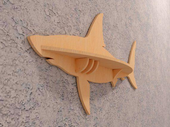 Wood shelf fish, shark, wooden decor, small shelf, fish wall art wood, animals silhouette , vector model, CNC laser cutting,instant download