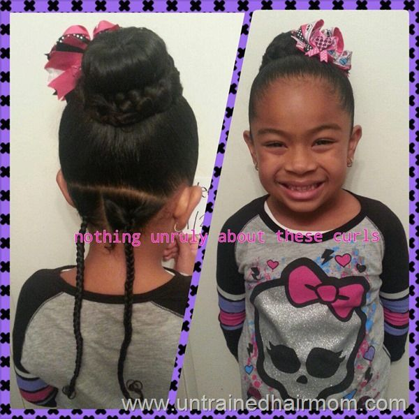 easy bun hairstyle - munchkin would love this because she can wear her giant bows  lol
