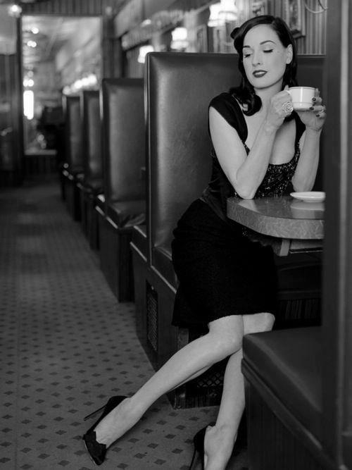"""""""I think it's bad manners to stand around in public with ripped jeans and your hair in a mess, holding a Starbucks."""" ~Dita Von Teese"""