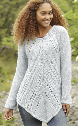 Free Knitting Pattern for Winter Flair Sweater - This cable and lace long-sleeved pullover sweater by DROPS Design is worked for the top down. Size: S – XXXL.