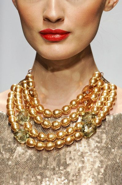 Baroque gold South Sea Pearls multistrand necklace