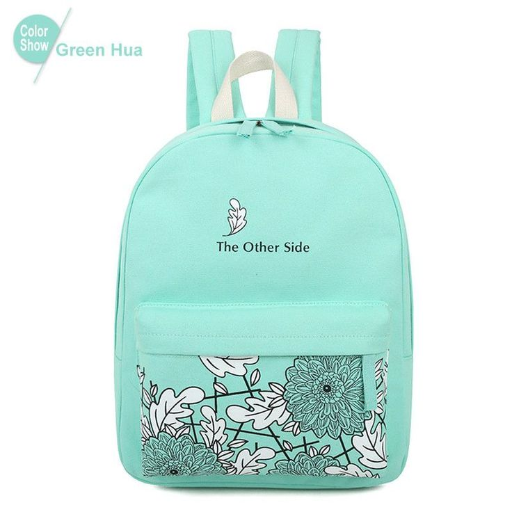 Women's Simple Elegant Design Print High-Quality Canvas Backpack 10 Colors