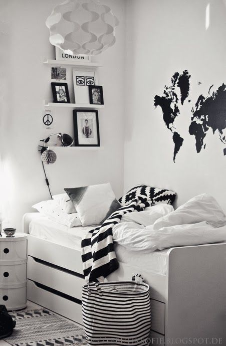 black and white boys room