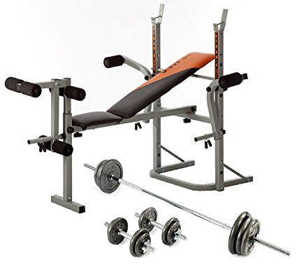 V-fit STB09-2 Folding Weight Bench & 50kg Cast Iron Weight Set