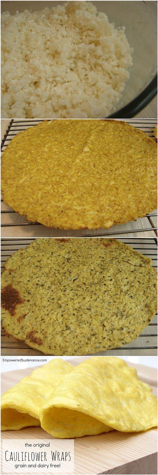 Cauliflower Wraps    Curry Wraps: 1/2 head cauliflower, cut into florets 2 eggs 1/2 tsp. curry powder 1/4 tsp. salt Garlic Herb Wraps: Substitute 1 minced garlic clove and 3/4 tsp. dried herbs (basil, oregano, thyme or a combo) for the curry powder