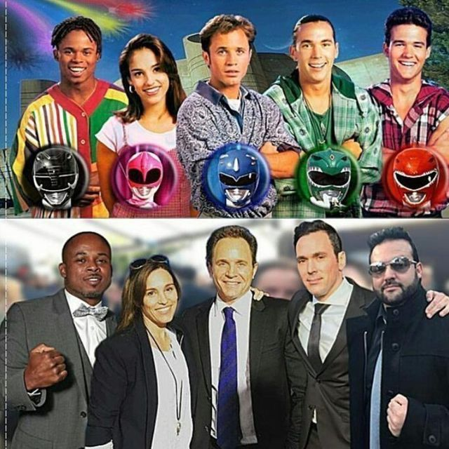 Then and now. Mighty Morphin Power Rangers