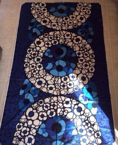 "Vintage 70's Tampella Fabric Made In Finland Marjatta Metsovaara ""Fiesta"" Blue 2"