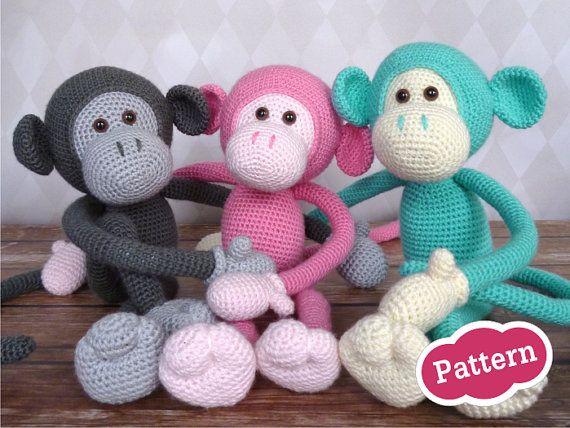"""Het patroon voor deze schattige aap: """"Mike the monkey"""", PDF patroon op sugaridoo.etsy.com"""