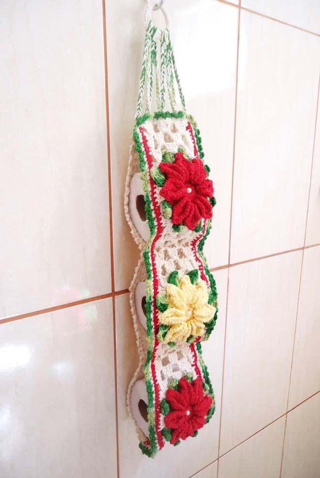 Porta papel higienico de croche flor camelia