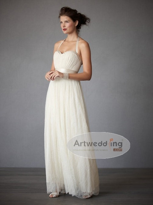 All Over Lace Halter Sheath Wedding Dress With Bowknot Sash