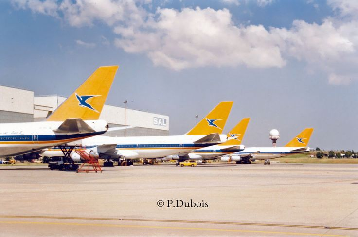 South African Airways B747 lineup  Two -200's, one SP and one -400 At SAA Technical.
