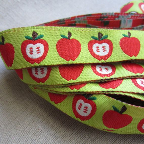"Embroidered Ribbon. 3m (3.2yds). Red Apple Ribbon Trim. Pacifier clip ribbon. 16mm 5/8"" wide. AUD 2.60 Worldwide Post!"