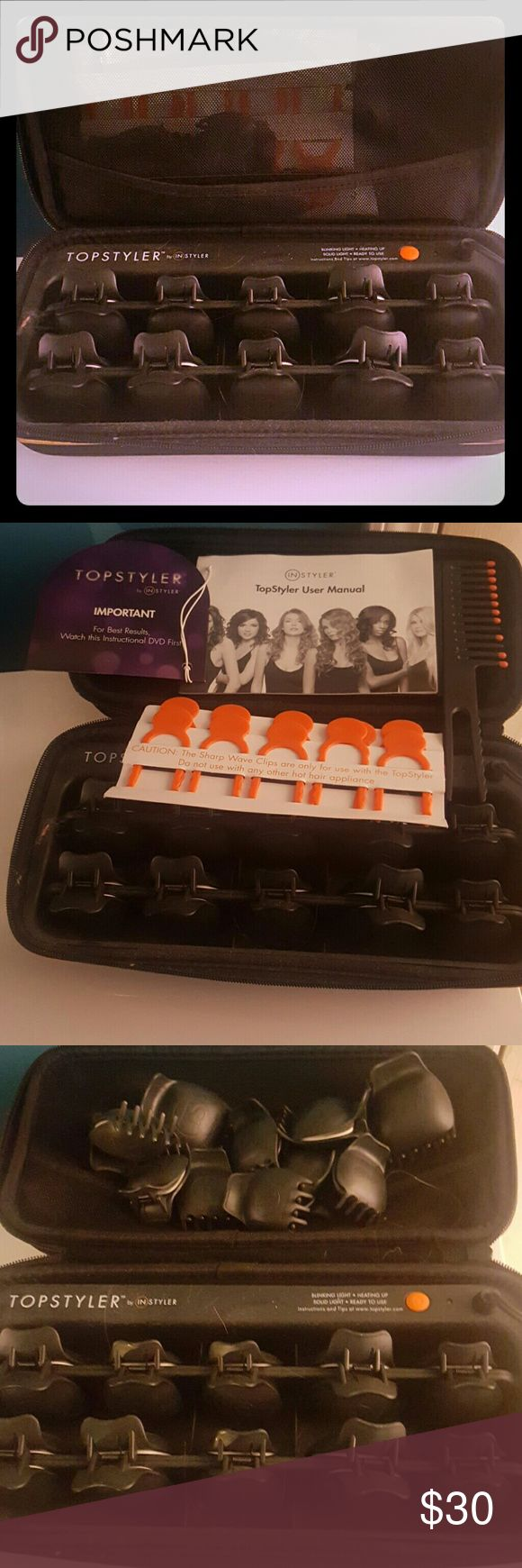 Topstyler Hot rollers Instyler's first hot roller set. Comes with instruction manual/DVD. 10 extra rollers, 10 sharp wave clips, and 1 EZ wrap styling comb for tight curls! Instyler Makeup