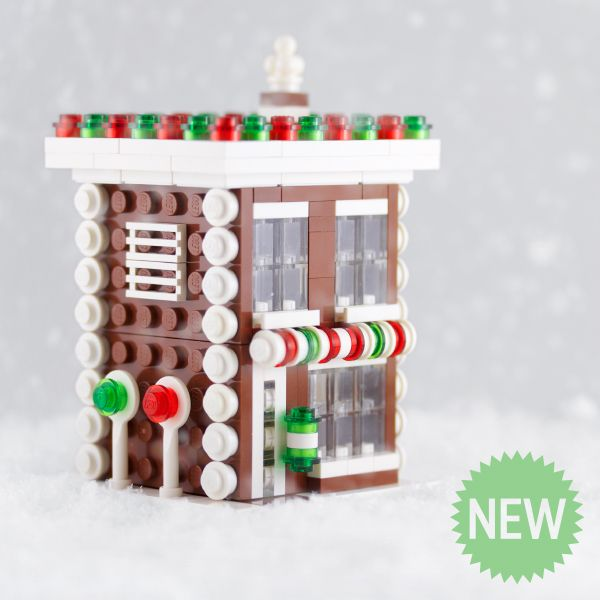 IN STOCK! A Lego Gingerbread Shop building kit custom designed by Chris McVeigh. 262 pieces, shipped in a sturdy cardboard box. Building instructions are available at http://chrismcveigh.com.