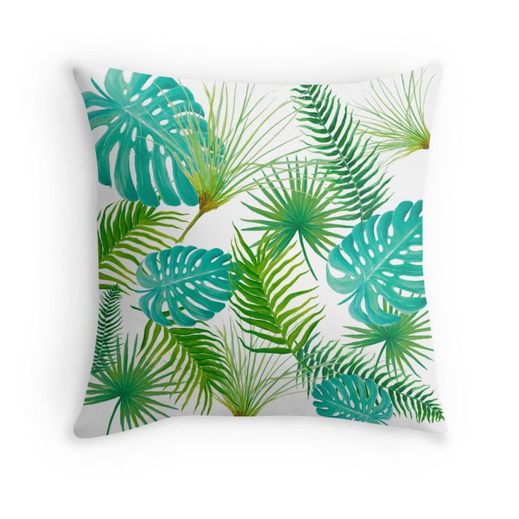 Tropical Leaves throw pillow for coastal decor