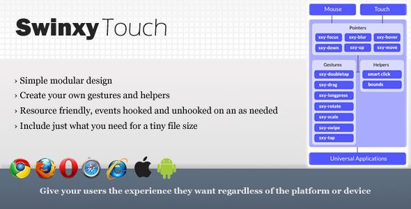 SwinxyTouch - jQuery Pointers & Gestures Library  #codecanyon
