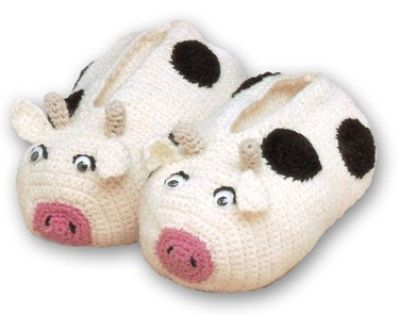 Crochet Cow Slippers