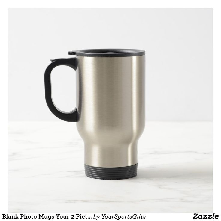Blank Photo Mugs with Your 2 Pictures Mugs or keep BLANK Click Here: https://www.zazzle.com/z/3n2ed Custom printed travel mugs are ideal gifts for Mother's Day, Great Father's Day Gift Ideas for Dad to keep their coffee or beverages hot and cold. We love these stainless steel photo mugs because they are stainless steel on the inside too, not plastic. See many more personalized gift ideas HERE: http://www.Zazzle.com/YourSportsGifts