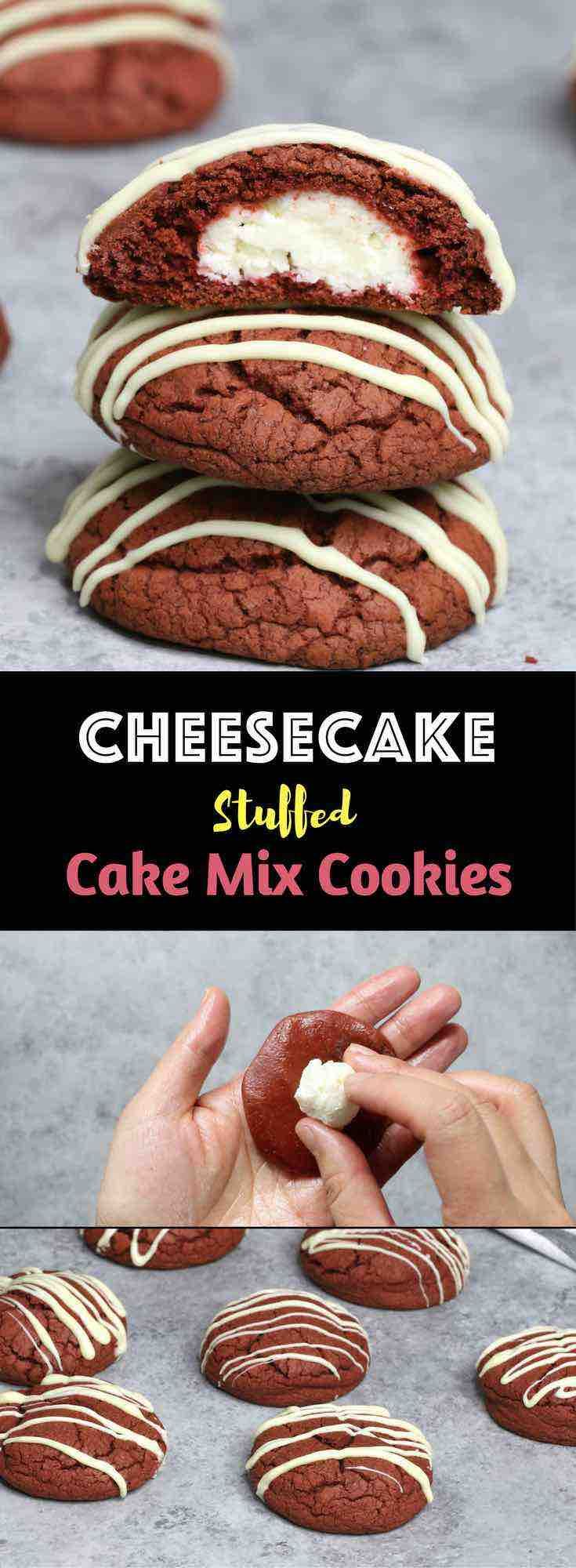 Easy Cheesecake Stuffed Cake Mix Cookies - Soft and chewy delicious cookies are made of red velvet cake mix! Cheesecake is stuffed in these cookies and you will have all your favorite flavors in bite! All you need is a few simple ingredients: Red Velvet cake mix, cream cheese, white chocolate, powdered sugar, flour, egg and oil! So Good! Home made gift recipes. Mother's Day recipe. Vegetarian. Video recipe.