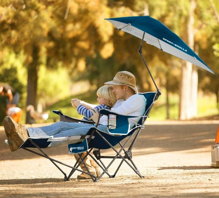 Sport-Brella Reclining Camping Chair With Attached Umbrella