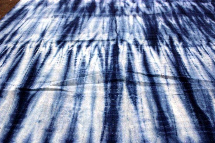 1 yard Indigo Blue Hand Block Print 100% Cotton Fabric Tie Dye Printed Fabric * #KhushiHandicraft