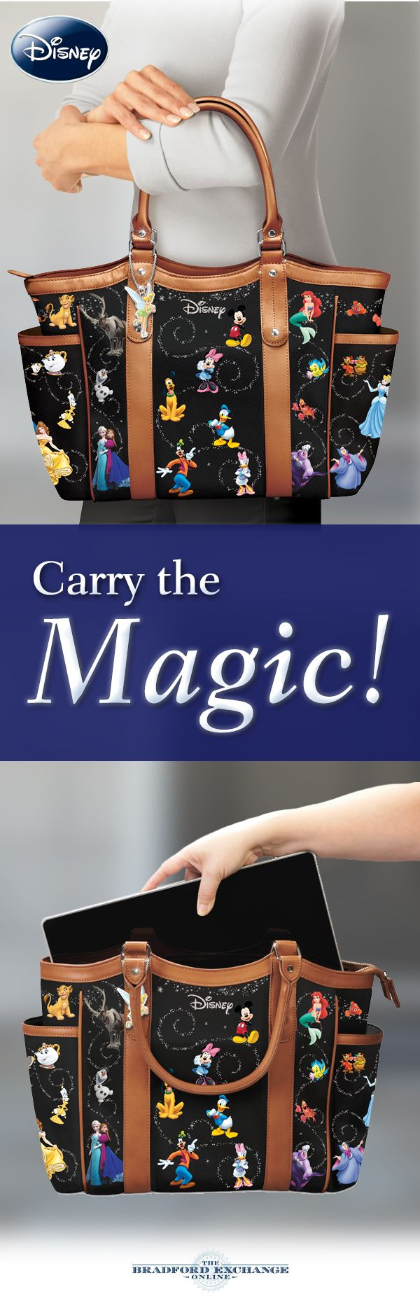 """Carry the magic with all of your favorite Disney characters! This designer-style handbag showcases characters from """"The Lion King"""" and """"Finding Nemo,"""" along with Cinderella, Belle, Snow White and the Seven Dwarfs, Aladdin and Winnie the Pooh. There's even a dangling Tinker Bell charm for an extra touch of enchantment."""