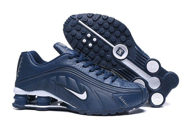 Direct factory Nike Shox R4 Navy Blue White Trainers, at ...