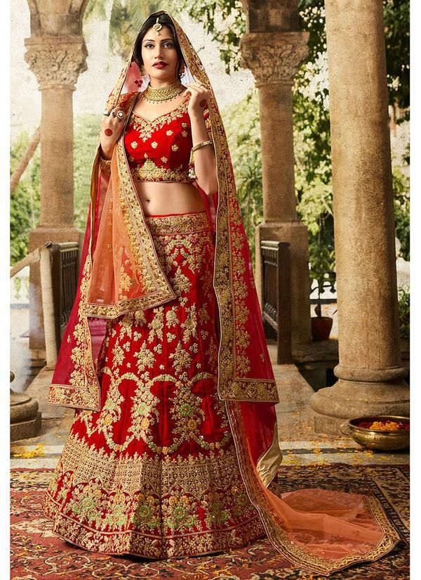 f6a2f2b1d6 Embroidered Velvet Bridal Lehenga in Red in 2019 | Lehenga Choli ...