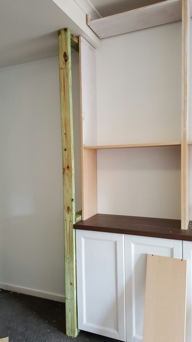 I then framed out the side which leads down the hallway to give the built in look.  Treated Pine is all I used.