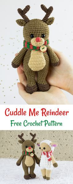 Crochet and place this adorable reindeer under the tree to make Christmas morning extra cuddly! #crochet #amigurumi #pattern