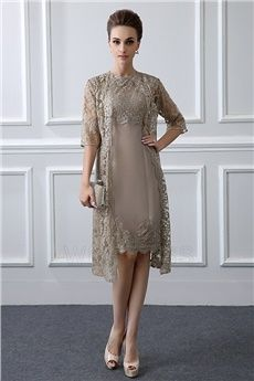 Sheath/Column Jewel Neck Knee-length Mother of the Bride Dress With Lace