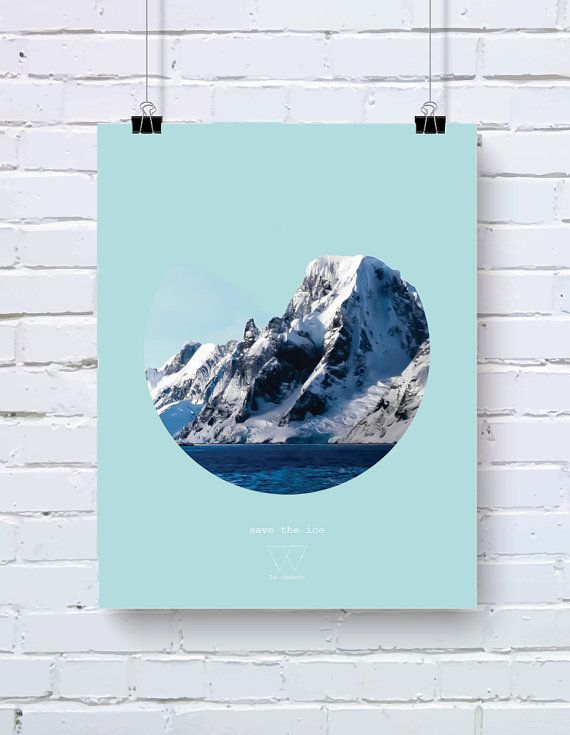 Save the Ice poster - Save the planet series - 10% of profits go to WWF - size A3 (29,7 x 42 cm)