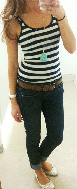 Add a pop of color to your simple stripe tank and jeans outfit. A turquoise necklace is season-less and versatile.