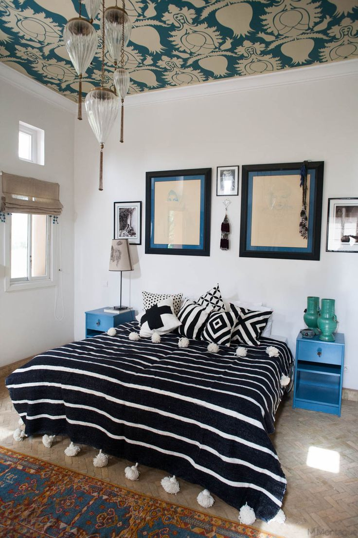 super chic black and white striped Moroccan pom pom blanket from the M.Montague Souk.