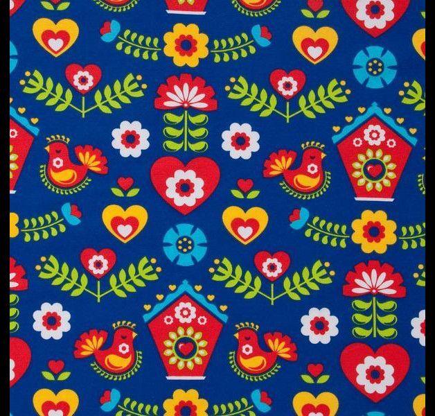 Jersey bedruckt von Lillestoff; lustig schöner, folkloristischer Stoff mit bunten Kuckucksuhren und Ornamenten auf kräftig blauem Hintergrund  geeignet für u.a. Kinderbekleidung, Kleid, Rock...