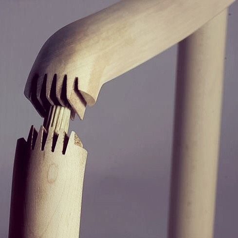 mid-century-furniture:  Fantastic detail on the doweled finger...