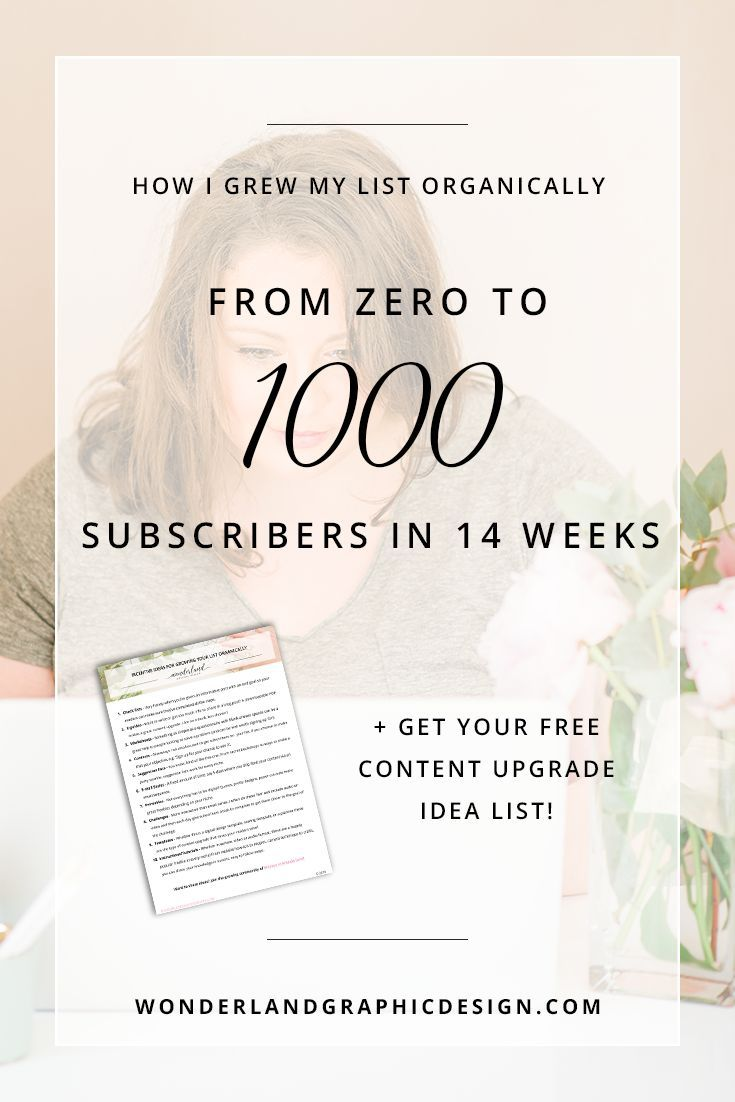 How I Grew My List Organically From Zero to 1000 Subscribers in 14 Weeks (+ A Free Content Upgrade Idea List!)