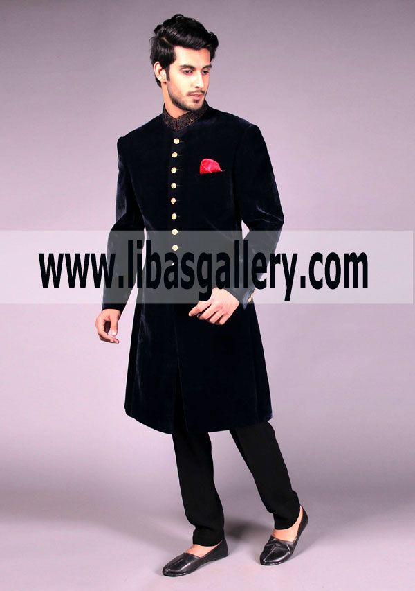 Amir Adnan Black Velvet Sherwani Is Famous Among Groom Dulha Family Because Of Its Enhanced Appearence Pakistan Sherwani Sherwani Groom Wedding Sherwani