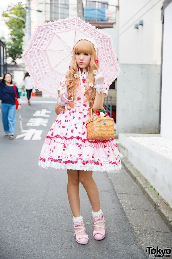Strawberry Print Angelic Pretty Lolita Dress w/ Parasol, Basket Bag & Spank! Accessories (Tokyo Fashion, 2015)